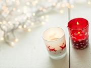 Copo de Cristal com Vela e Decoração de Natal